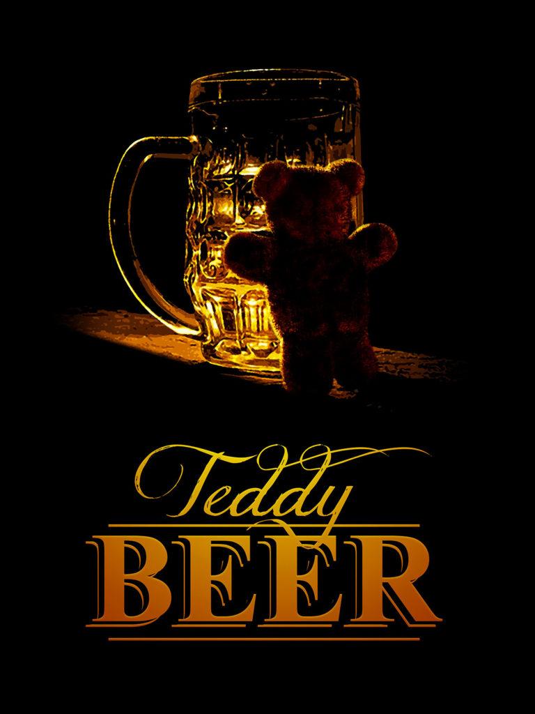 Concept-art représentant un ourson qui veut boire de la bière