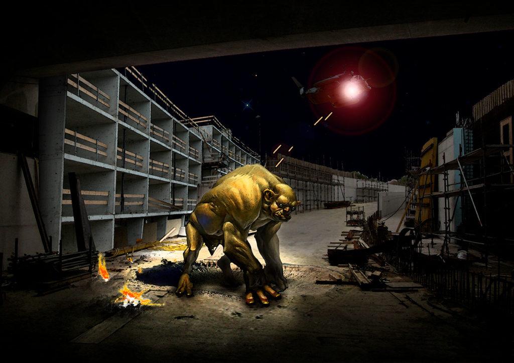 Concept-art représentant un troll sous un pont se faisant attaquer par un hélicoptère
